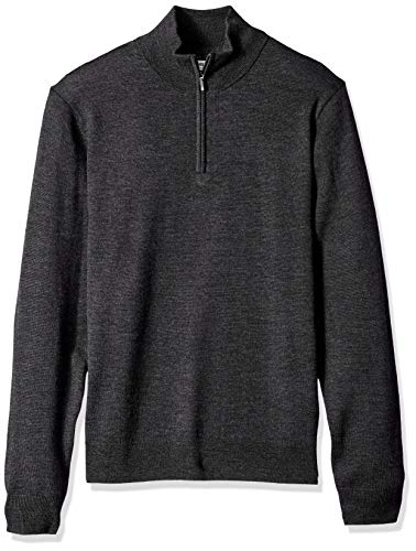 Goodthreads Herren Merino Wool Quarter Zip Sweater Sweatshirt, Grau (charcoal Cha), Large Wool Zip Pullover