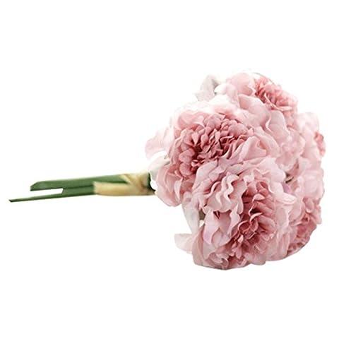 Fleurs Artificielles, Oyedens 1 Bouquet de 5 Fleurs de Pivoine de Tête Artificielle Fleur Artificielle Pour Décoration de Maison Mariage Mariee (Rose)