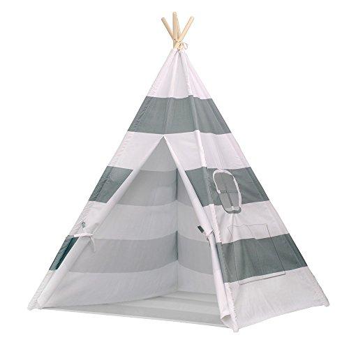 Tipi Zelt für Kinder mit Verbundenem Boden, Indianer Spielzelt aus Segeltuch Baumwolle mit Schließbares Fenster GRAU
