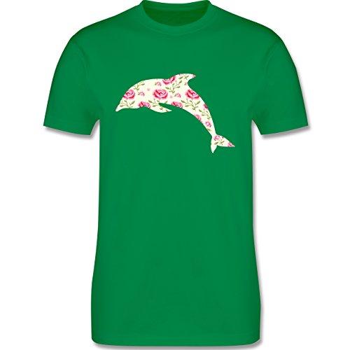 Sonstige Tiere - Delfin Blumen Rose - Herren Premium T-Shirt Grün