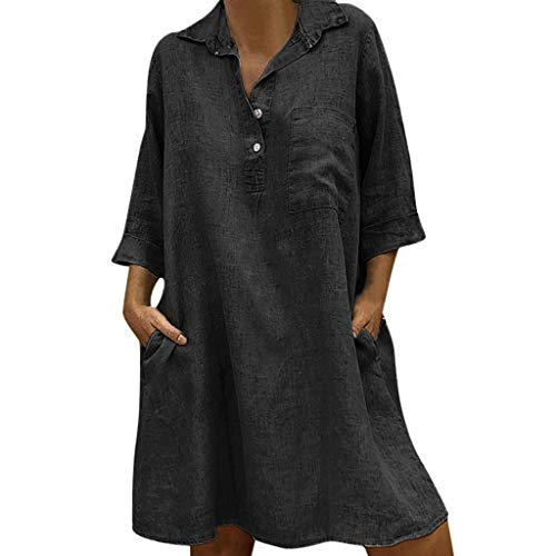 Damen Baumwolle Leinen Kleid, LeeMon Tasche Frau Umlegekragenkleid 3/4 Ärmel lässig Taschenknopf Kleid -