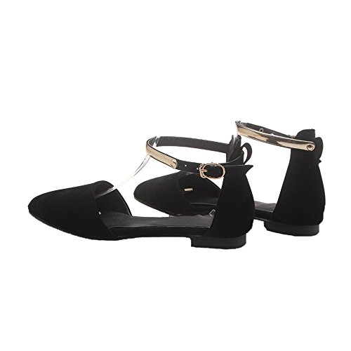 AgeeMi Shoes Donna Buckle Suede Senza Tacco Ballet-Flats Nero