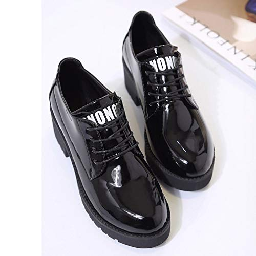 93d38147 Comfortable Women Flat Platform Shoes Patent Leather Lace Up Creepers Shoes
