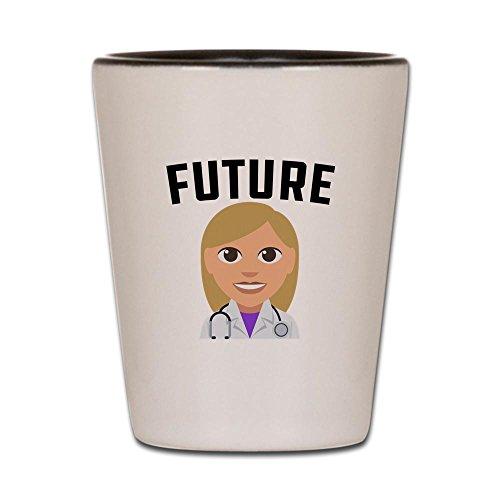 (CafePress–Future Doctor–Schnapsglas, Einzigartige und Funny Shot Glas weiß / schwarz)