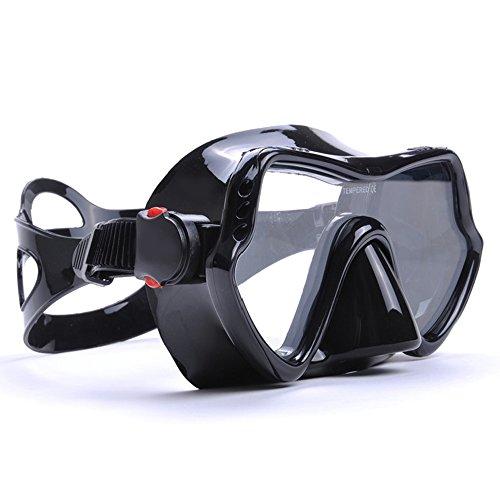 YFX Create Profi Tauchenmaske Antibeschlag-Schutz Taucherbrille Unterwasser Goggles für Unisex Erwachsene (Schwarz)