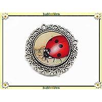 1 imán mariquita rojo beige negro blanco regalos personalizados Navidad amigos papi mami cumpleaños invitados boda ceremonia señora día de la madre padre pareja