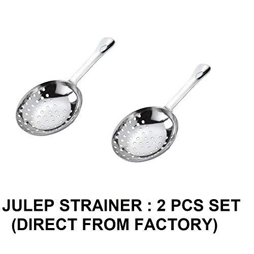 NJ Julep Strainer, Stainless Steel Cocktail Strainer, Bar Strainer, Drink Strainer, Bartender Supplies/Bar Accessories - 2 Pcs Set