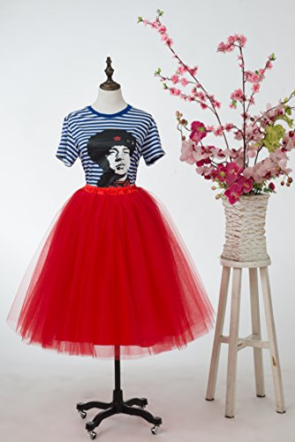 Honeystore Damen's Lang Ballet Petticoat Abschlussball Party Zubehör Tutu Unterkleid Rock Rot