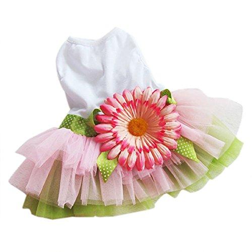 UEETEK Elegante dulce flor de girasol floral vestido de la princesa falda mascotas verano ropa chaleco camisas tamaño M