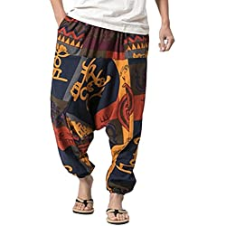 Zhuhaitf Pantalones Bombachos Hombre y Mujer Ropa Hippie Hombre Mujer Mens Harem Hippie Pants thai pants National Winds