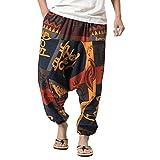 Zhuhaitf Aladin Pants Hippie Hose Haremshose Herren Damen Yoga Hose aladinhose Männer Harem Hippie Pants thai pants Lightweight Long Trousers Elasticated waist