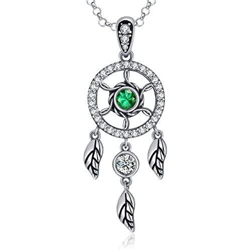 MEGACHIC Collar para Mujer con Atrapasueños Circonita de Color Esmeralda Cristales de Swarovski