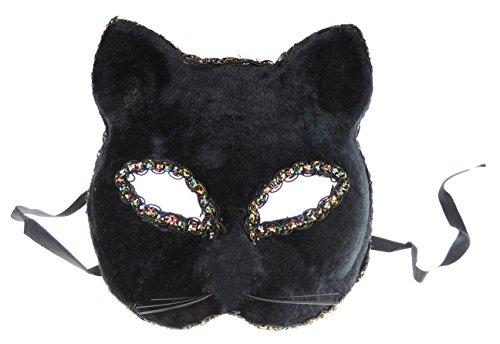 elourssamt verdeckt Fancy Kleid Half Face Masquerade Maske Katze Kätzchen Gr. onesize, schwarz ()