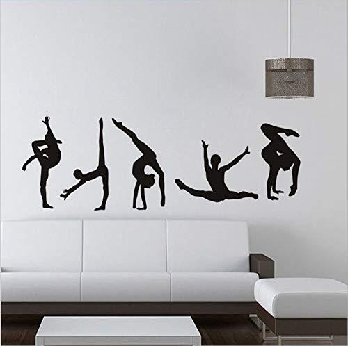 HOUCONG Klassische 5 Gymnastik Muster Moderne Wandaufkleber Sport Center Wohnzimmer PVC Vinyl Wandtattoo Dekoration Zubehör 58X20cm (Gymnastik-kuchen-dekorationen)