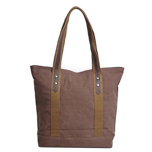 Neuleben Damen Umhängetasche Vintage Shopper Tasche aus Canvas Handtasche Schultertasche für Schule Arbeit Einkäufe Reise (Khaki) Braun