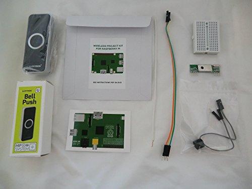 Internet & MP3Türklingel (schwarz) Projekt Kit für Raspberry Pi 3, Pi 2, B +, A +, B und A Modelle. Set beinhaltet eine Lloytron MIP Kabellose Türklingel & 433MHz Wireless - Mp3 Amp
