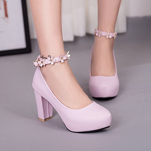 Mee Shoes Damen chunky heels Ankle strap inner Plateau Pumps Pink