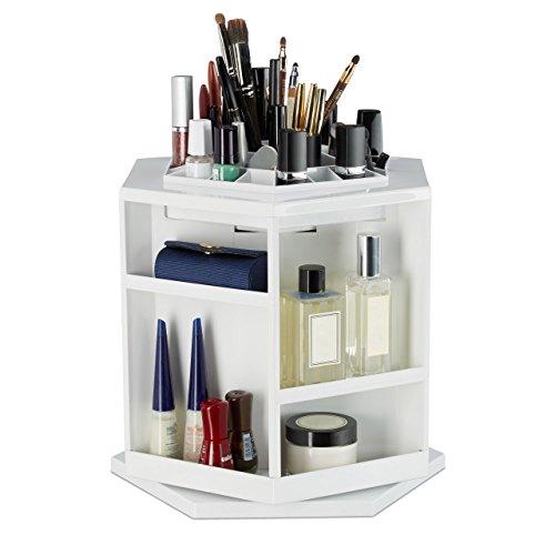 Relaxdays 10023152 organizzatore per cosmetici, porta trucchi girevole, 360 gradi, esagonale, 39 scomparti, bianco, 24 x 28 x 27.5 cm