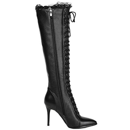 ENMAYER Femmes Mode Sexy Zipper Dentelle Bout Pointu Talon Haut Bottes Hautes Noir