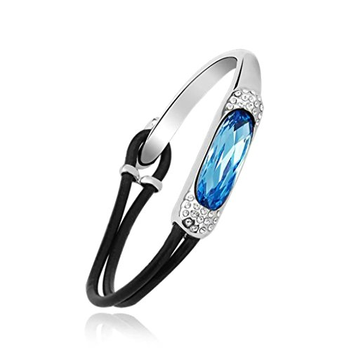 Aooaz Femme Bracelet, Ovale Bracelet Rouge Bleu Deux Ton Mariage Bracelet Bleu