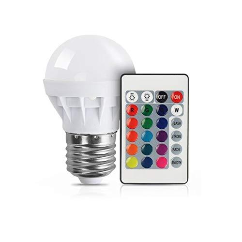 3 w rgb ha condotto la lampadina colorata e27 multicolor dimmer lampada interna telecomando senza fili per la festa di natale di nozze (bianco)