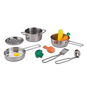 KidKraft 63186 Juego infantil de utensilios de cocina Deluxe, juego de imitación para niños con comida de juguete de aspecto realista