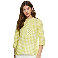 Styleville.in Women's Checkered Regular Fit Top (STSF401615-Yellow-L)