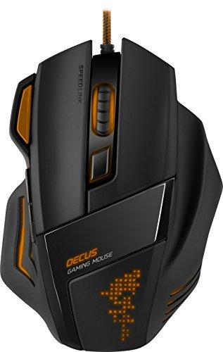 Speedlink Programmierbare Gamer Maus für PC / Computer - Decus Gaming Mouse USB (Laser-Sensor, bis zu 5000 DPI - dpi-Schalter und Rapid-Fire-Taste - Volle Individualisierbarkeit) Ultimative Ergonomie orange/schwarz