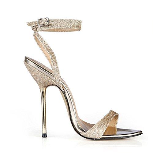 Sandalen weiblichen Sommer Einfache fein mit Stahl Absatzhöhe-Heel Schuhe, Pale Gold Golden Sands