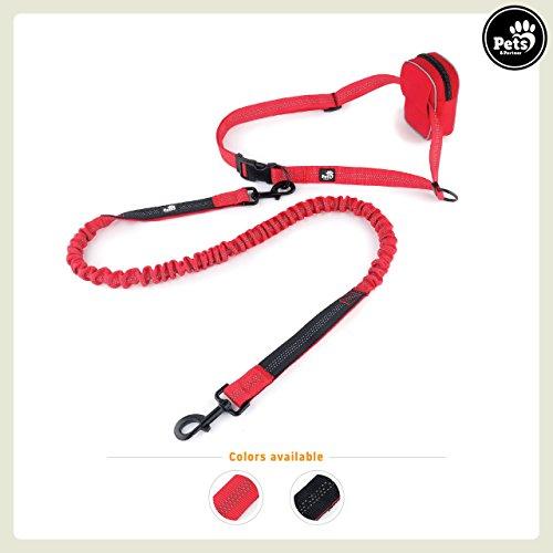Pets&Partner® Hunde Joggingleine / Trainingsleine / Handfreieleine mit Tasche in verschiedenen Farben, Rot (Rote Handgefertigte Tasche)