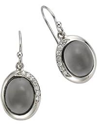 ZEEme Silver Damen-Ohrhänger in 925/- Sterling Silber mit 14 weißen Zirkonia und grauem Glas 360230184-1