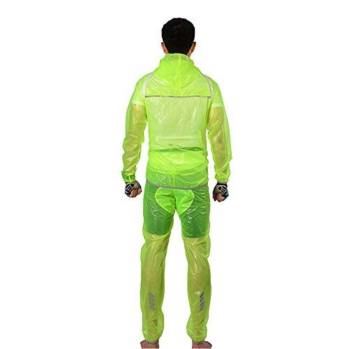 Docooler Vêtements de Pluie Roche Bros Respirante Ultra-mince Vélo Unisexe Randonnée Cerveau Manteau Veste de Costume Pantalon de Vêtements de Plein Air jaune