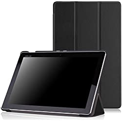 MoKo Etui ASUS ZenPad 10 Z300C - étui à Rabat avec Support Ultra-Mince et Léger pour Tablette ASUS ZenPad Z300C/ Z300M/ Z301M/ Z301ML/ Z301MFL / Z300CNL / Z300CG / Z300CL 10.1 Pouces, Noir