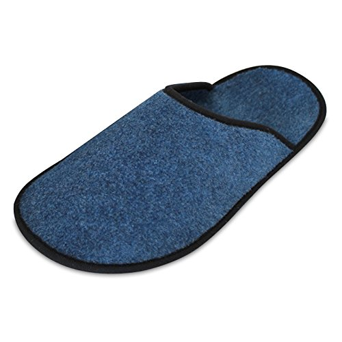 Museumspantoffeln Überziehschuhe, groß 1 Paar, strapazierfähiger dünner Filz faltbar Sohlenlänge 36 cm Schuhüberzieher Blau