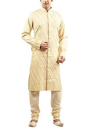 Manyavar Men's Cotton Kurta Pyjama (8903035055163_M511156-303-XXL_Biscuit)