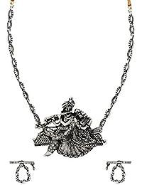 Zaveri Pearls Antique Radha Krishna Temple Necklace Set For Women-ZPFK6312