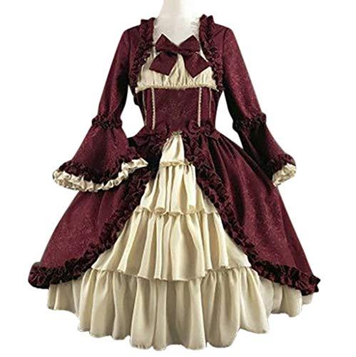 Binggong Damen Steampunk Gothic Maxikleider Frau Vintage BallkleidPartykleid Kostüm Teufelchen Cosplay Bekleidung Patchwork Bow Dress -