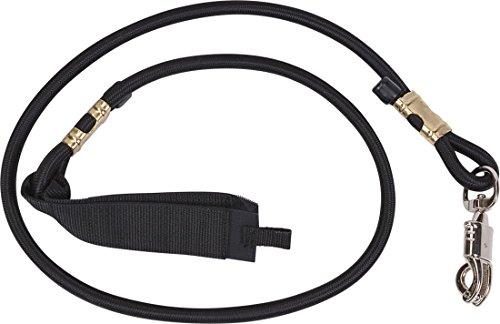 Horse Guard Elastik Anbinder 60 cm mit Panikhaken und Klettverschluss für Pferdeanhänger Box und Stall, Trailer Tie schwarz -