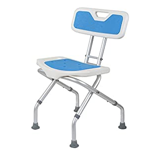 Foldable Shower/Bath Stools Aluminum Alloy Disability Aid Folding Shower Chair Adjustable in 3 Height for Elderly/Disabled/Pregnant Women with Backrest and Handle Bath Bench in Blue Max. 136kg