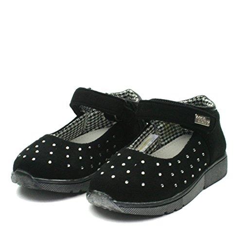 MS002 Miss Sixty Girls Ankle Strap Shoe in Black w/ Strass Taglia 28