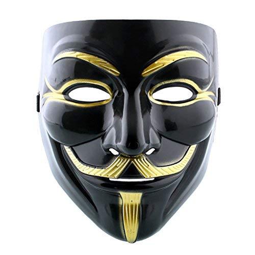 GEEKSLIFE Máscara Anónimo - V para Vendetta - Revolución - Negro Y Oro
