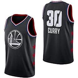 AKCHIUY Maillot De Basketball Stephen Curry # 30 pour Homme - NBA Warriors, Fans Sports T-Shirt en Jersey Respirant avec Swingman,Black-L