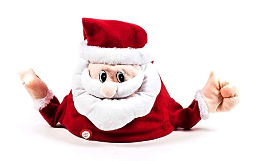 Weihnachtsmütze, Weihnachtsmann-Hut aus Plüsch, singt und winkt, Batteriebetrieb,...