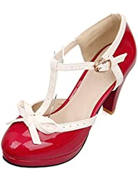 ba69fc65cc5a YE Escarpin Talon Haut Plateforme Mary Jane Boucle Cheville Rockabilly Ete  Femme Vernis Noeud Chaussure Cosplay