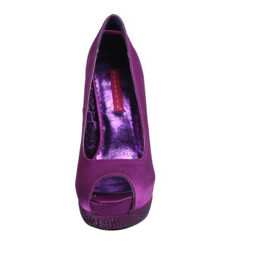 BordelloBELLA-12R - Scarpe peep toe Donna (Purple Satin/Purple Satin)