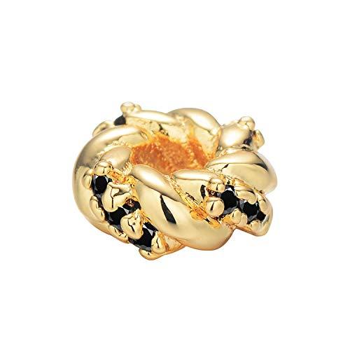 Charm-Abstandshalter Perlen für Schmuckherstellung, Zubehör für DIY Armbänder, runde Form, Metall, 5 Stück, metall, A03, Einheitsgröße - Paracord Jade