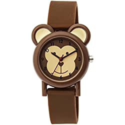 Tikkers Unisex Quartz Watch with Brown Dial Analogue Display and Brown Silicone Strap TK0085