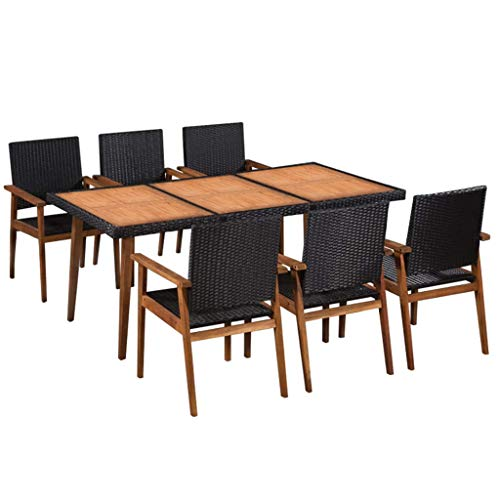 Festnight Ensemble Salon de Jardin en Résine Tressée Mobilier d'extérieur 7 pcs pour Patio 1 Table et 6 chaises