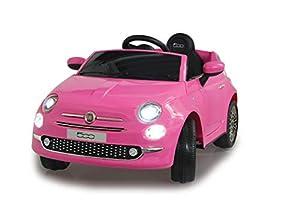 Jamara 460443 Ride-on Fiat 500 Fucsia 12V-Arranque Suave sin Llave, MicroSD, AUX, USB, Faro LED, Ruidos, Claxon, 2 Motores, Batería Potente, Ruedas Ultra-Grip, Color Rosa