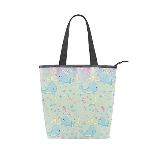 Jeansame Canvas-Handtasche für Damen, Shopper mit Tragegriff, Schultertaschen mit Reißverschluss, Meerwasser, mediterrane Welt Seepferdchen, Wal